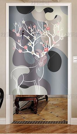 北欧现代简约抽象麋鹿花鸟窗帘门帘家居图案