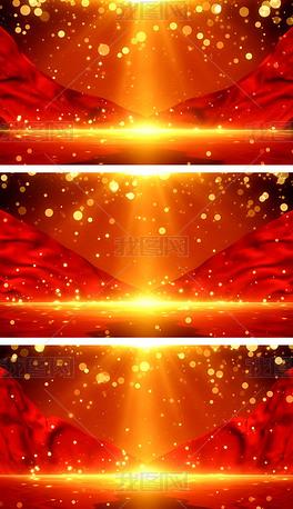 4K金色党政红绸颁奖粒子舞台背景包装视频