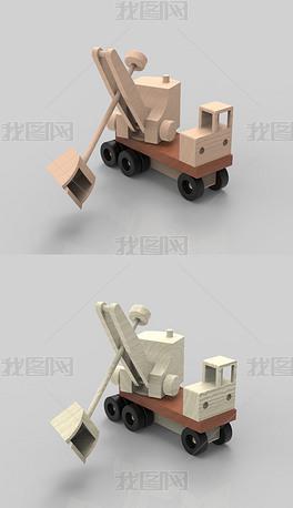 木制玩具挖掘机犀牛3D模型