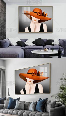 后现代轻奢时尚爱马仕橙抽象艺术优雅性感美女横版巨幅客厅餐厅装饰画