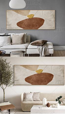 现代抽象简约侘寂风客厅沙发背景墙横版巨幅装饰画