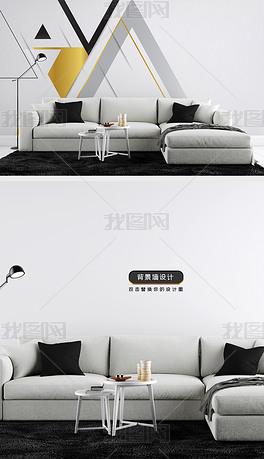 高清中式客厅电视沙发背景墙效果图场景样机