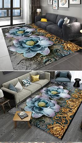 浮雕黄金花纹花卉地毯