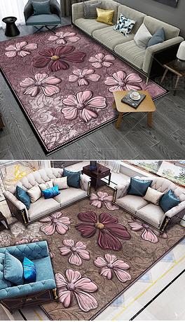 浮雕抽象花卉地毯