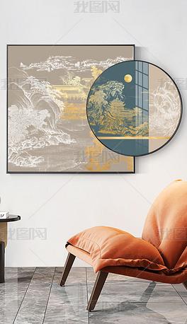 现代简约山水楼阁新中式臻金肌理套框装饰画