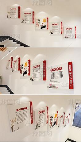 党建展厅为人民服务践行人民至上楼梯文化墙