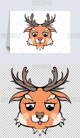 卡通风手绘可爱卡通小鹿元素图案设计