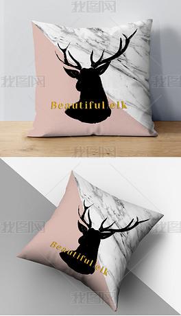 现代简约北欧抽象几何麋鹿客厅沙发抱枕