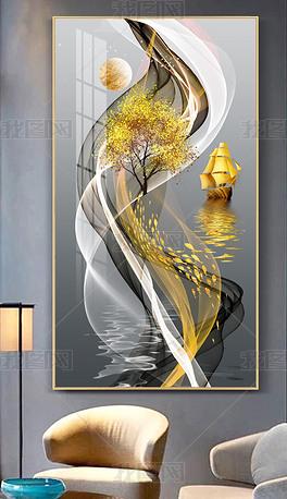 现代轻奢简约水墨山水线条玄关抽象装饰画