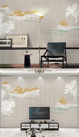 新中式现代轻奢宫廷楼阁山水背景墙装饰画