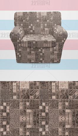 北欧时尚清新复古格纹印花图案沙发