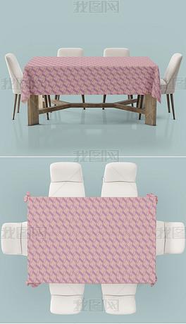 餐厅桌布台布印花样机模型