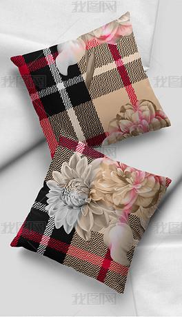 现代简约几何格子花卉花纹抱枕图案