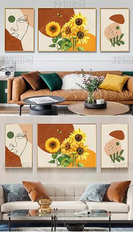 现代北欧抽象轻奢植物花朵三联装饰画6