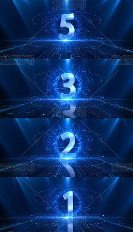 5秒蓝色科技倒计时视频素材