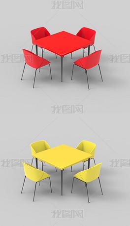 餐桌椅组合犀牛3D模型