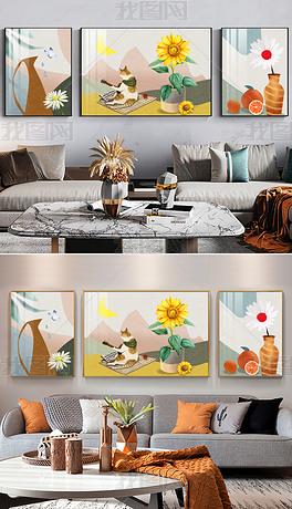 抽象植物花卉向日葵三联装饰画手绘轻奢