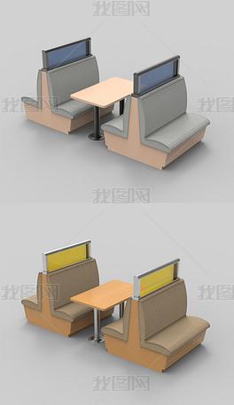快餐店餐桌椅犀牛3D模型
