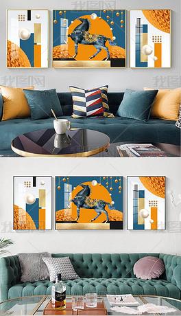 轻奢现代艺术动物抽象几何鎏金立体空间简约客厅装饰画9