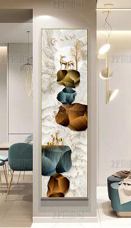 新中式轻奢石来运转飞鸟发财树麋鹿窄玄关装饰画