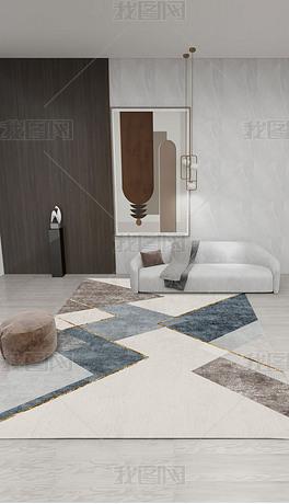北欧现代ins轻奢创意抽象几何床边毯客厅地毯地垫