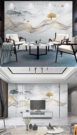 现代简约新中式抽象水墨山水烟雾线条背景墙