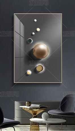 高级灰现代简约轻奢立体几何光影空间原创北欧装饰画系列五