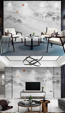 新中式大理石纹意境水墨山水电视背景墙