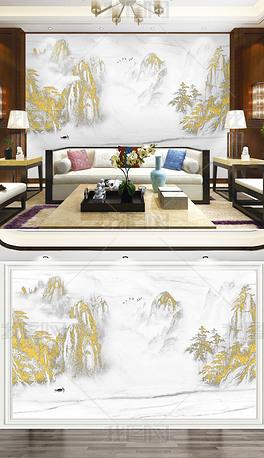 新中式海纳百川江南山水轻奢背景墙爵士白大理石硬包电视背景墙