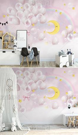 北欧ins手绘粉色梦幻气球浪漫云朵公主房儿童房背景墙