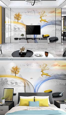 现代简约北欧轻奢抽象烟雾线条水墨山水画石来运转电视背景墙壁画
