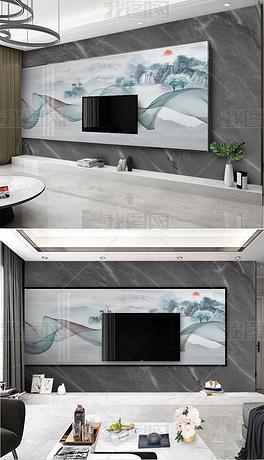 新中式水墨山水飘带现代轻奢爵士白大理石纹石材悬空电视背景墙