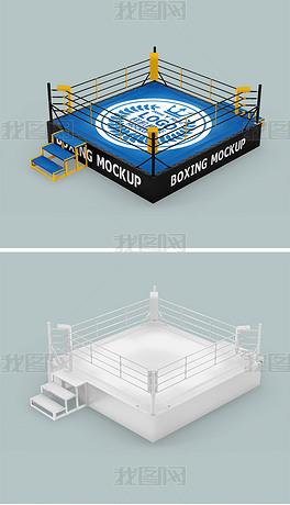 拳击擂台拳击台贴图样机模型
