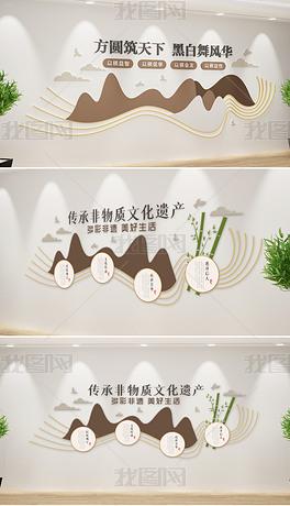 新中式原木风格棋牌文化墙社区棋牌室文化墙