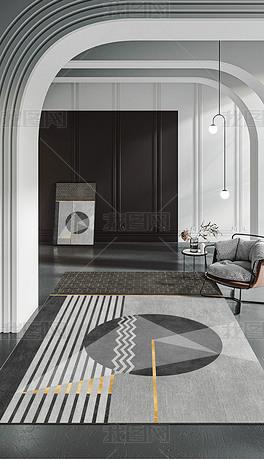 北欧现代轻奢创意几何黑白灰金边床边毯客厅地毯