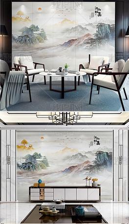 奢华新中式大理石纹抽象意境水墨山水背景墙装饰画