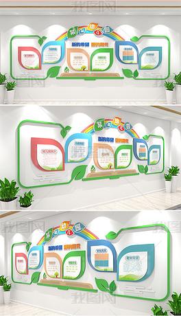 清新绿叶创意校园文化墙大树中小学幼儿园学校文化墙形象墙设计