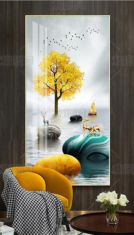 轻奢现代石来运转一鹿高升发财树客厅玄关装饰画