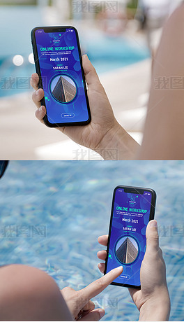 游泳池女士手拿手机ui界面app展示样机