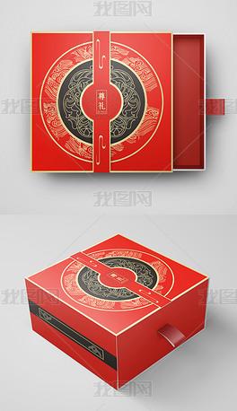 简约大气高档精品国潮中国风红色礼盒包装设计新年包装设计