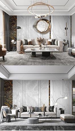 现代轻奢沙发背景墙