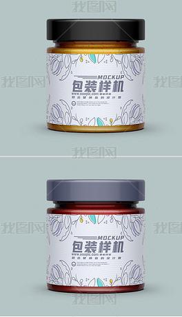 可换色蜂蜜果酱玻璃罐贴纸包装设计样机模型