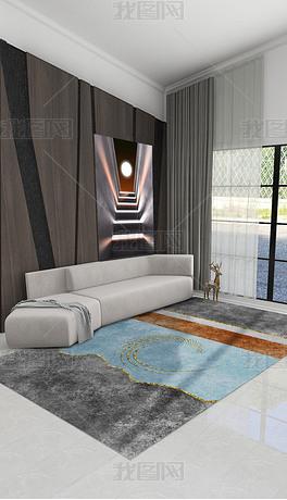 北欧现代轻奢创意几何灰色棕色蓝色金边床边毯客厅地毯