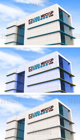可换色高楼大厦楼宇户外3d立体logo文字贴图样机模型
