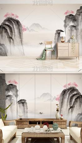 分层山水桃花背景墙分层水墨山水桃花三生三世十里桃花背景墙