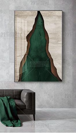 北欧现代抽象立体几何拼接图案侘寂风装饰画