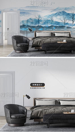 新中式现代卧室客厅意境抽象水墨山水客厅背景墙壁画场景样机