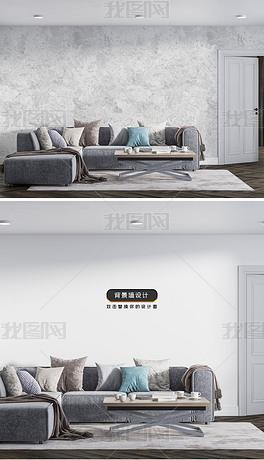 简约现代客厅沙发墙纸背景墙场景样机