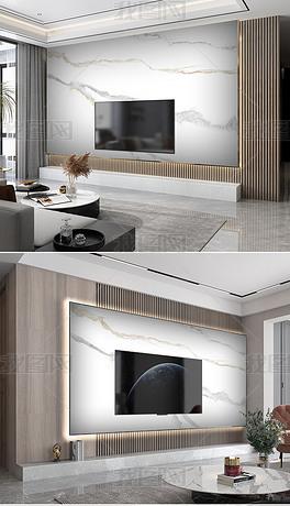 现代轻奢爵士白大板悬空背景墙