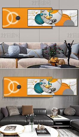 轻奢北欧抽象几何招财麋鹿橙色晶瓷床头组合装饰画6